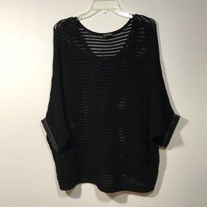 Club Monaco Open Knit Sweater Faux Leather Trim